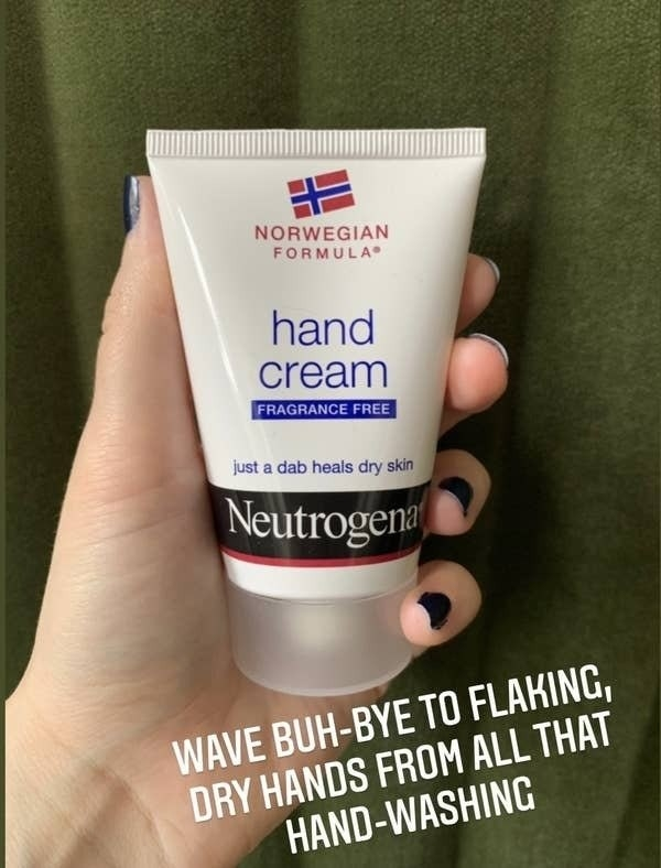 "Maitland holds clear container of Neutrogena Hand Cream with caption that says ""Wave Buh-bye To Flaking, Dry Hands From All That Hand-Washing"""