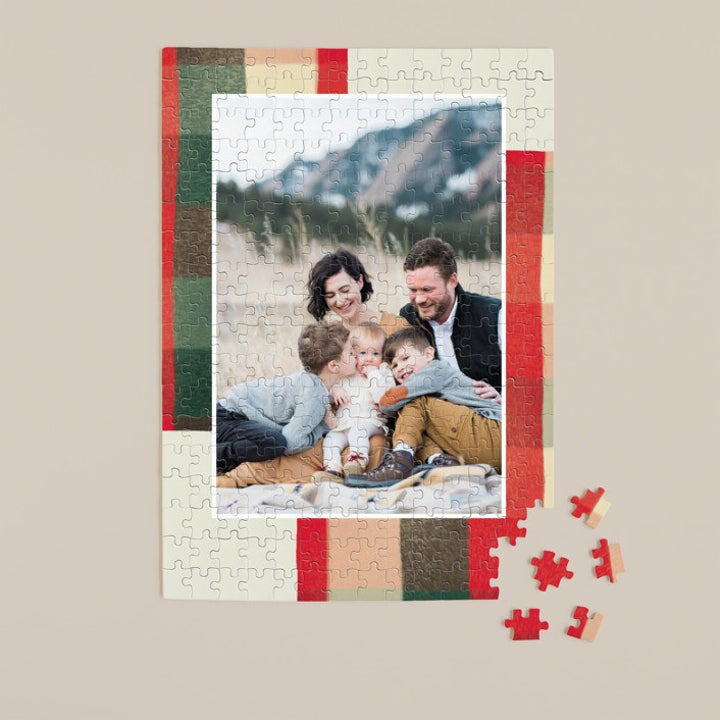 warm flannel puzzle with a photo of a family on the inside