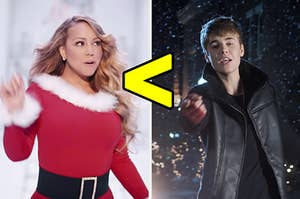 """On the left, Mariah Carey in the """"All I Want for Christmas Is You"""" music video, and on the right, Justin Bieber in the """"Mistletoe"""" music video with a less than symbol in between the two images"""
