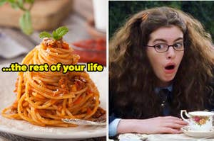A plate of spaghetti is on the left labeled,