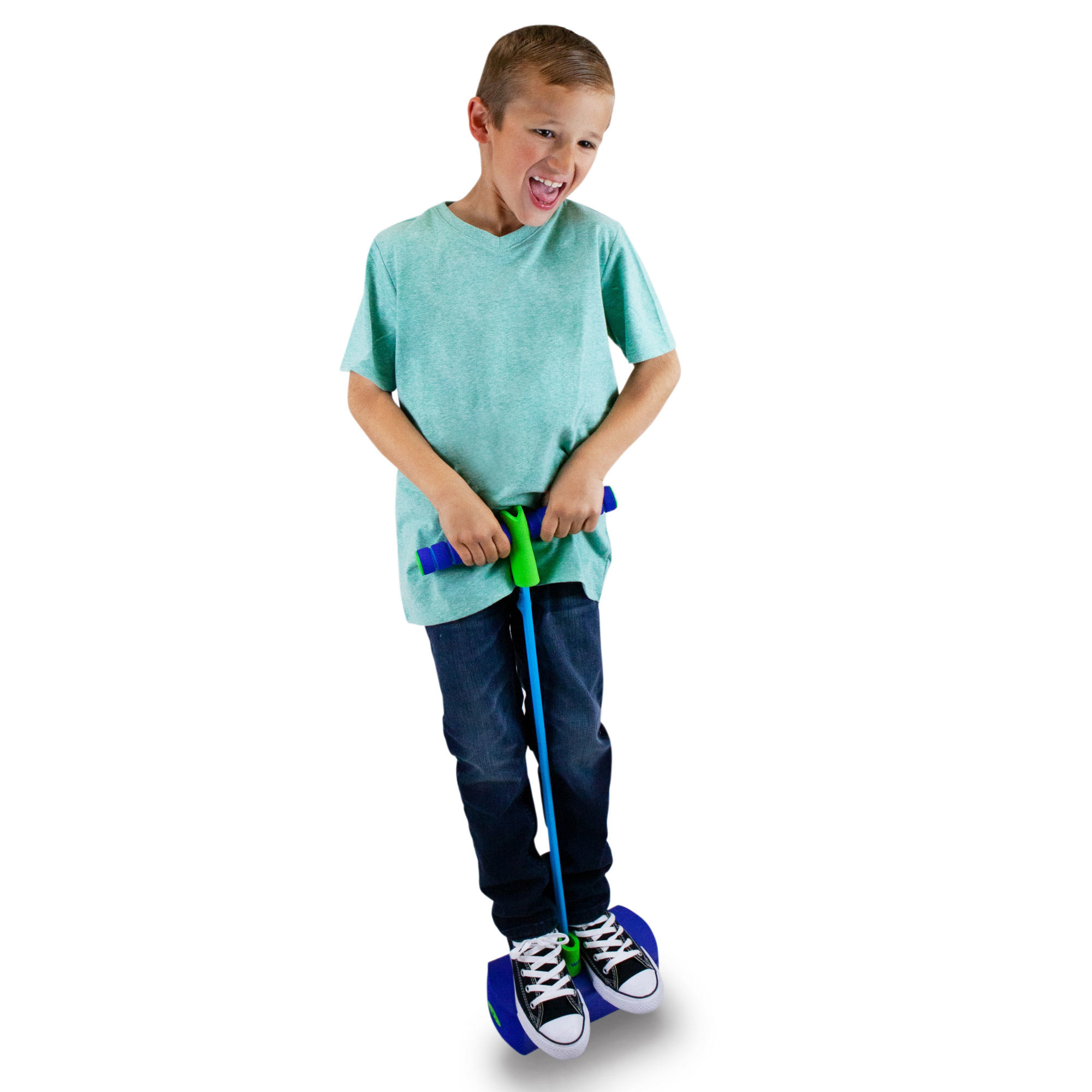 kid holding on it and jumping on a blue pogo hopper