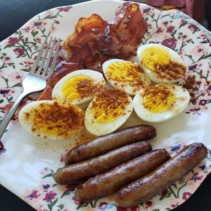 Marquaysa's breakfast with bacon, sausage and hard-boiled eggs cooked in a Dash Rapid Egg Cooker