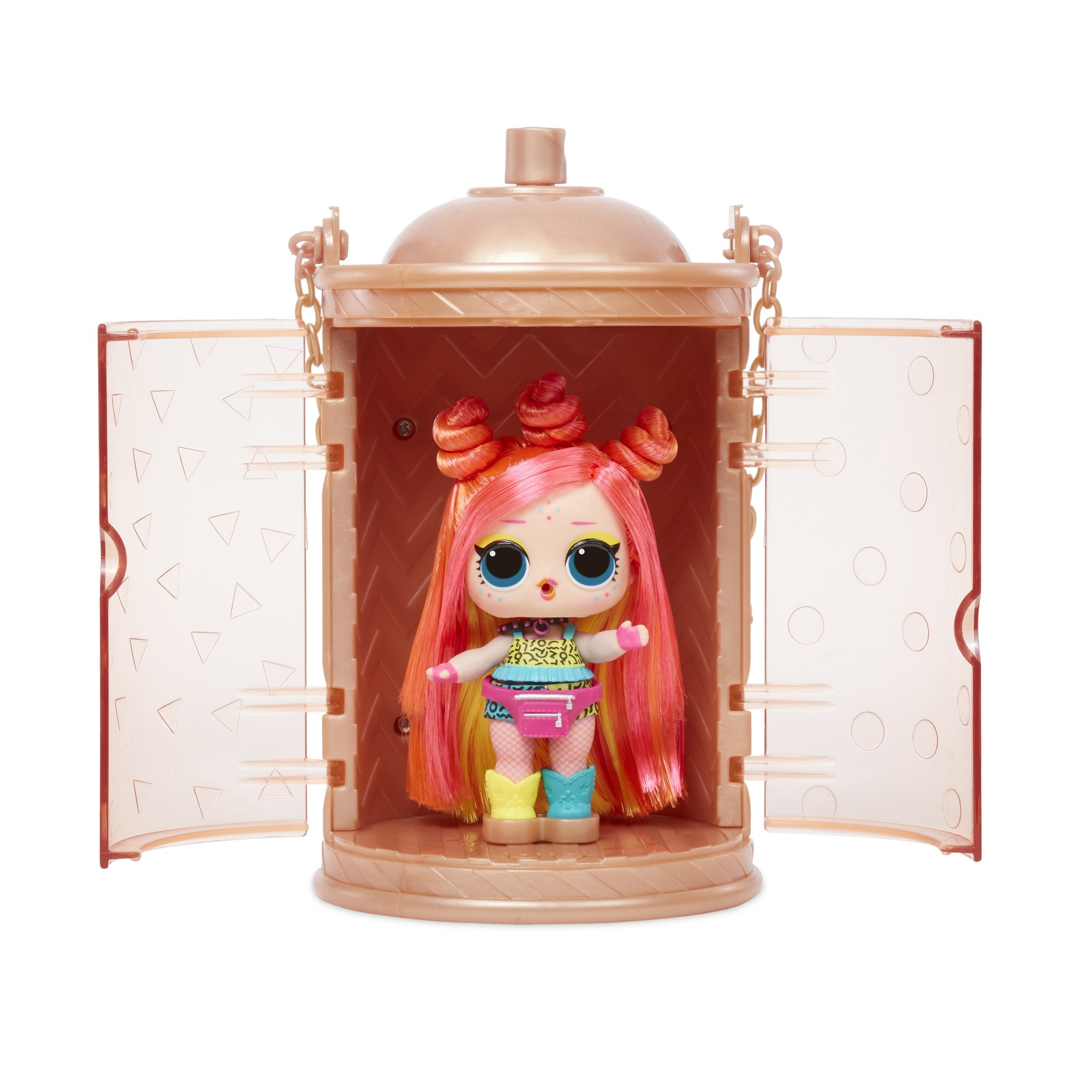 an lol surprise doll with pink hair and orange highlights and colorful accessories. the doll is sitting in a capsule-style case