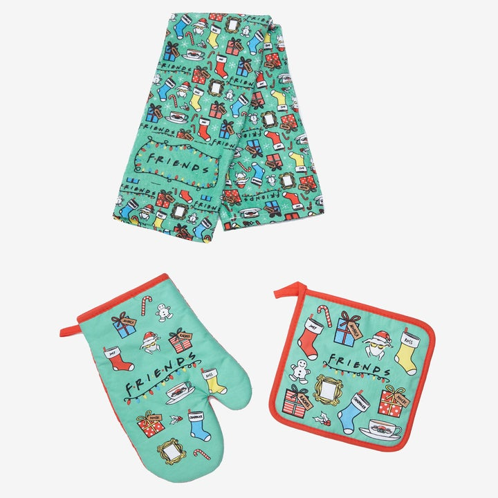 Friends holiday themed dish towel, oven mitt, and pot holder