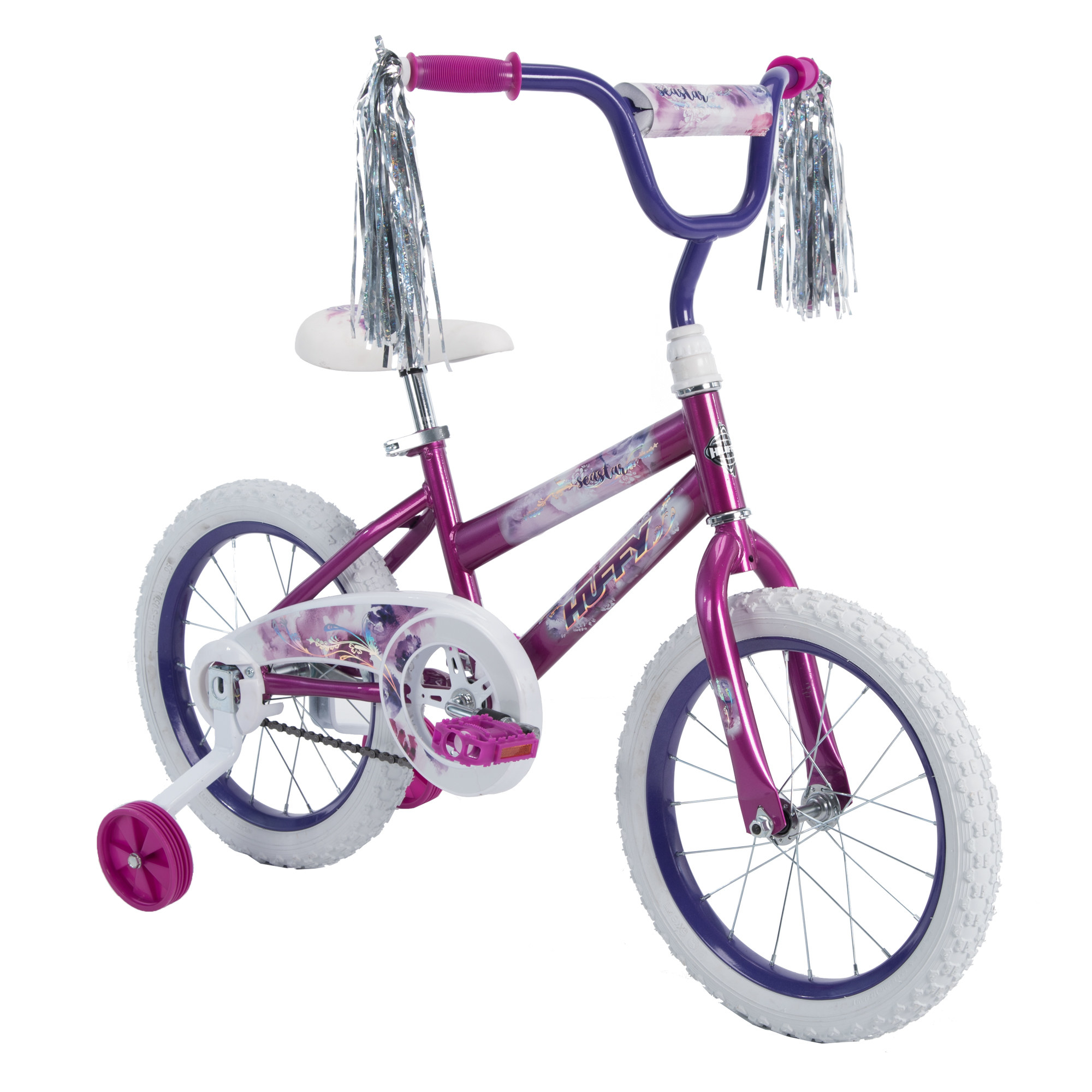 pink and purple bike with training wheels and tassels