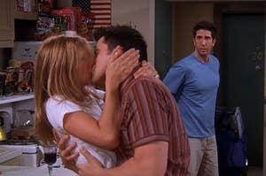 Ross catches Rachel and Joey kissing
