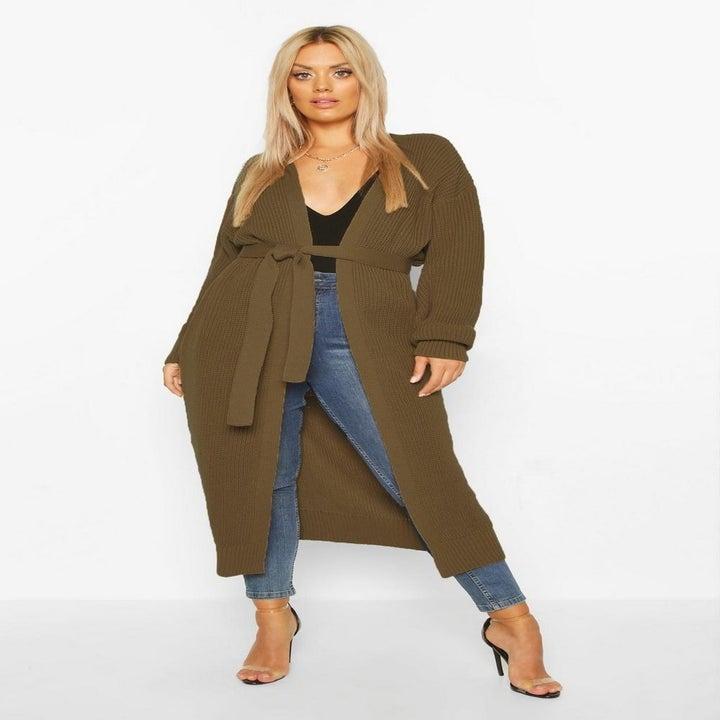 model wearing olive green cardigan