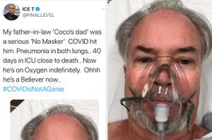 A tweet from Ice-T next to a man with an oxygen mask on his face