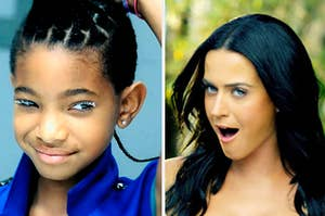 Willow Smith is holding her hair on the left with Katy Perry singing on the right