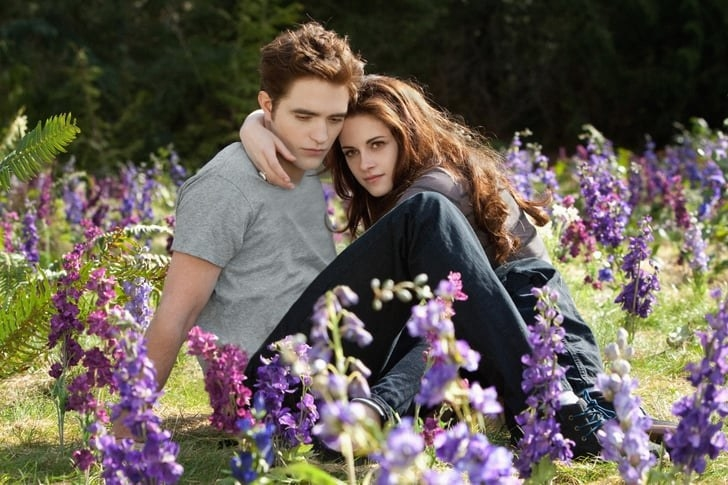 Bella and Edward sitting in a meadow surrounded by purple flowers
