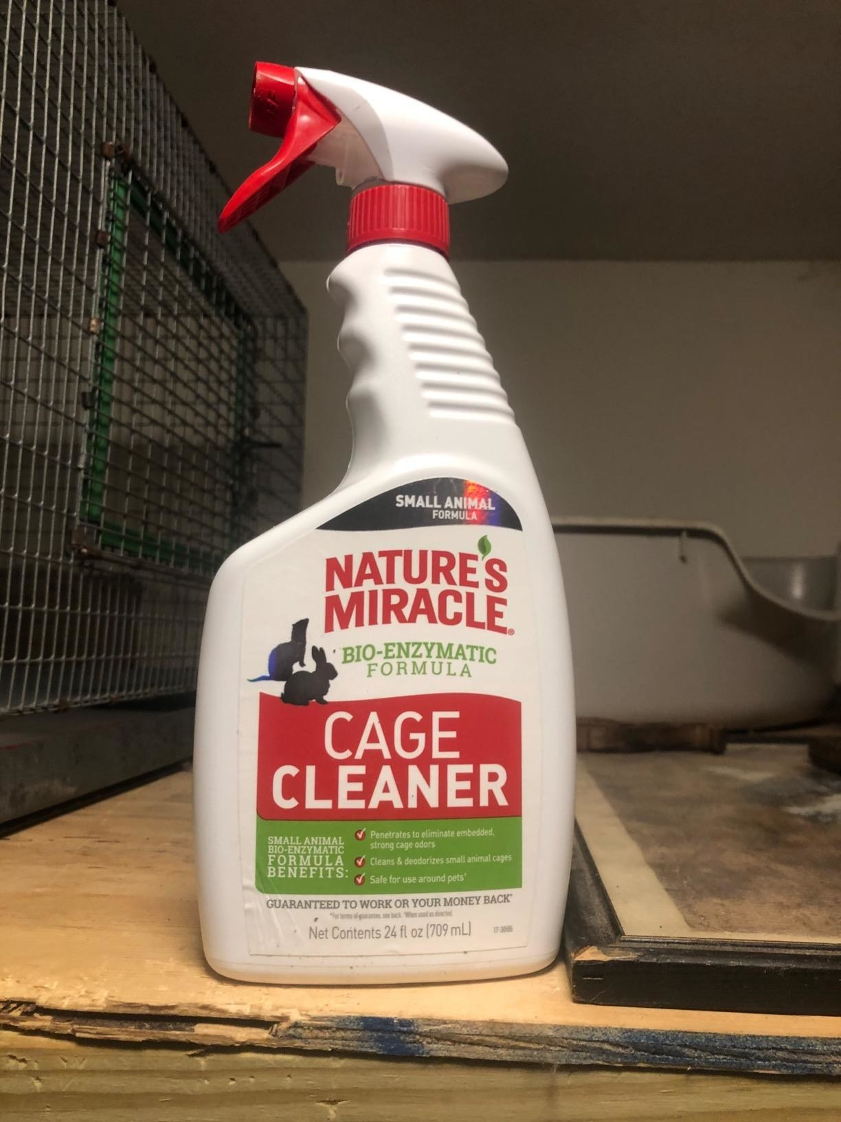 The cleaner, which comes in a spray bottle