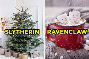 """On the left, a Christmas tree with minimal decorations and some foil-wrapped gifts underneath it labeled """"Slytherin,"""" and on the right, a mug of hot chocolate with two marshmallows made to look like snowmen labeled """"Ravenclaw"""""""