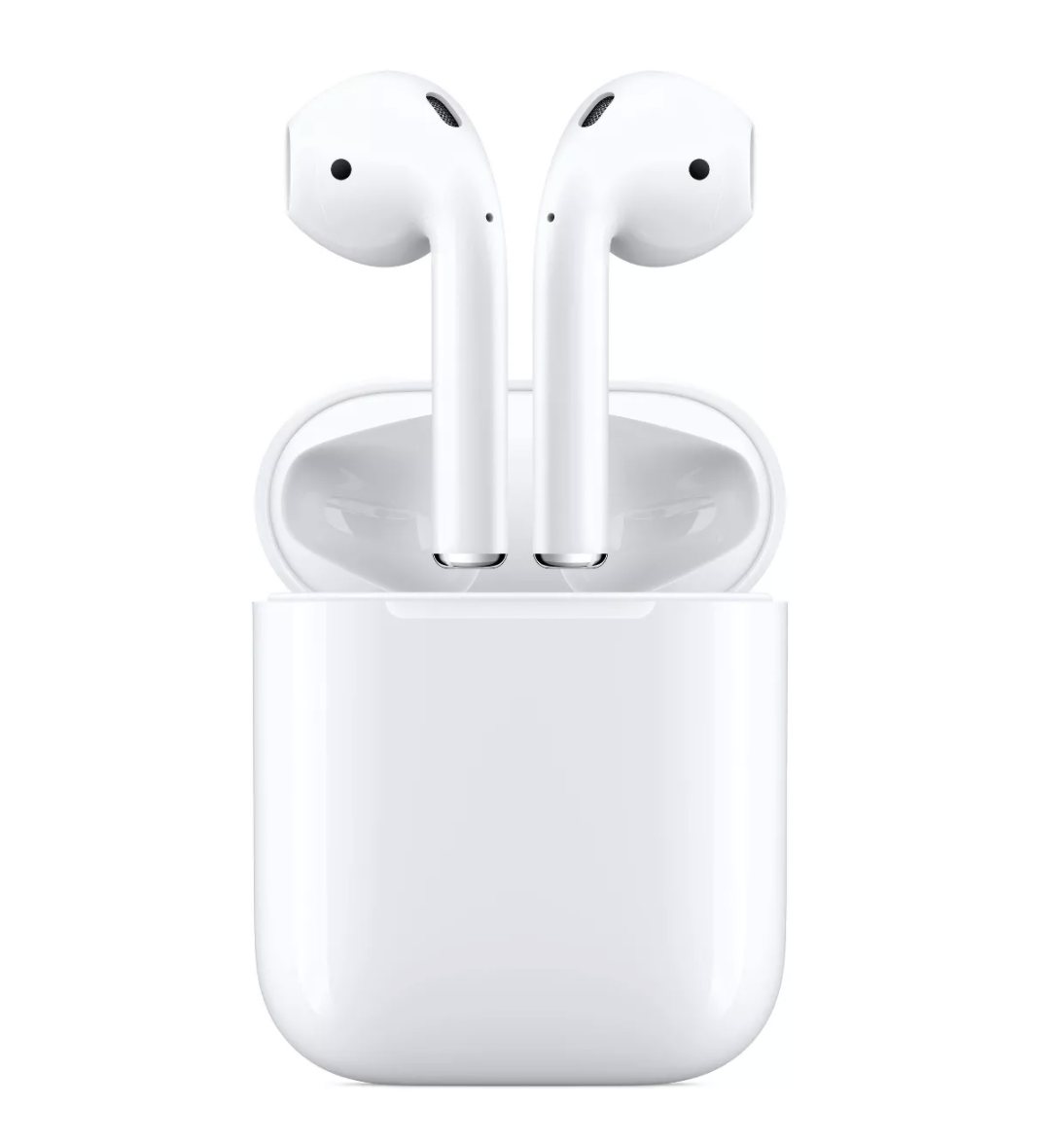 AirPods case opened with two AirPods removed