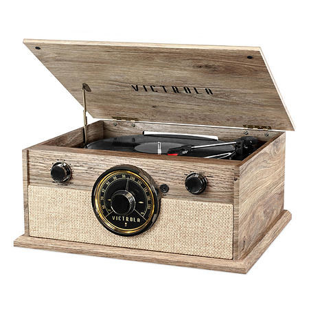 the record player in wood grain