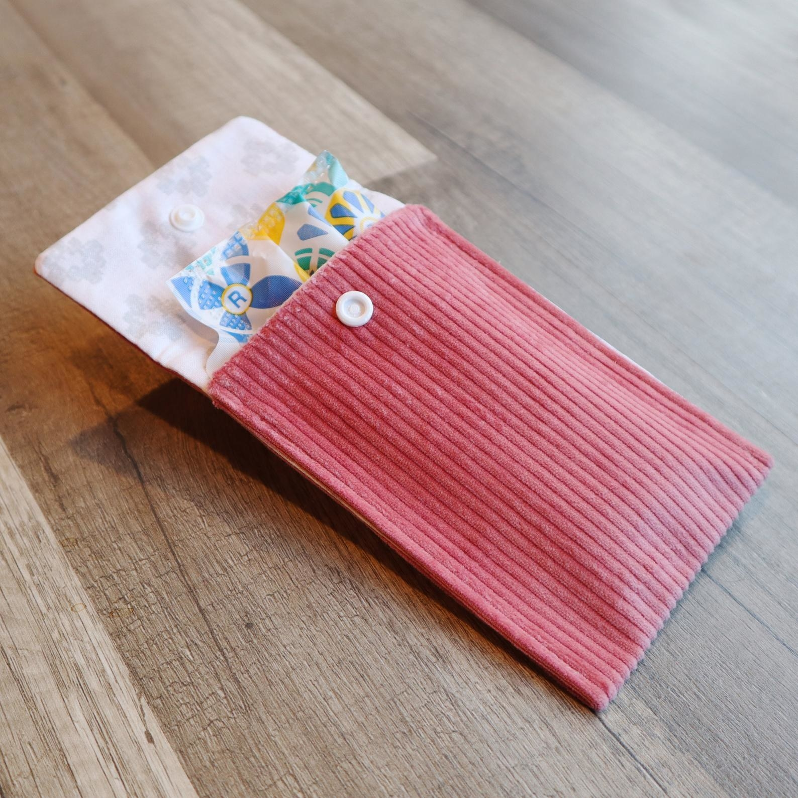 the pink curduroy tampon case