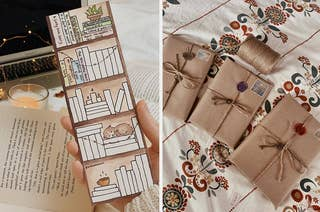 on the left, a book tracker bookmark, and on the right, a blind date surprise wrapped book