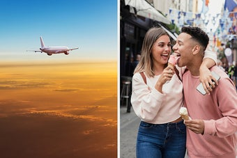 On the left, a plane flying in the sky, and on the right, a woman holding out an ice cream cone to someone who takes a lick and laughs