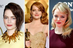 Emma Stone with brown, red, and blonde hair