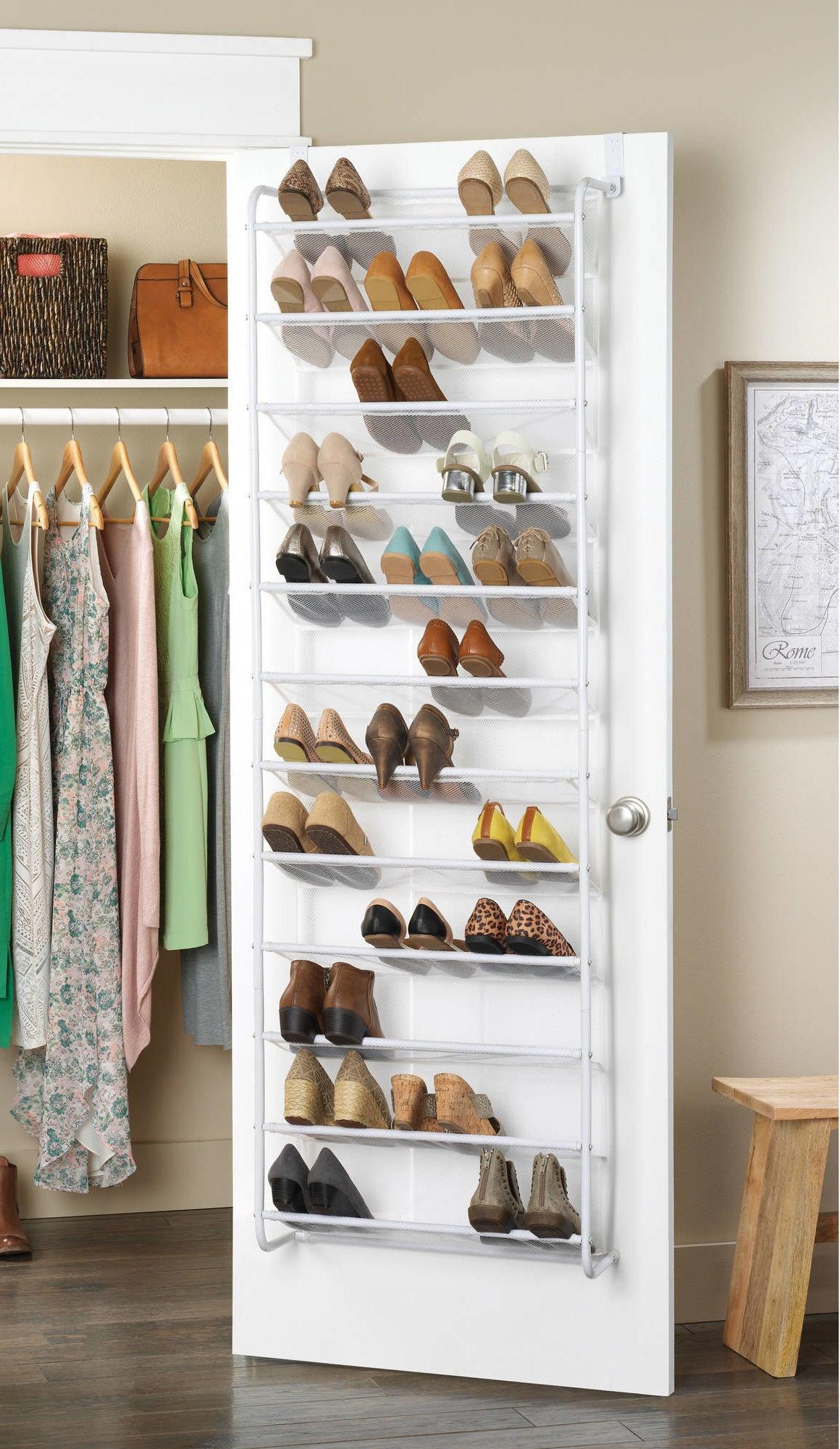 The white over-the-door shoe organizer
