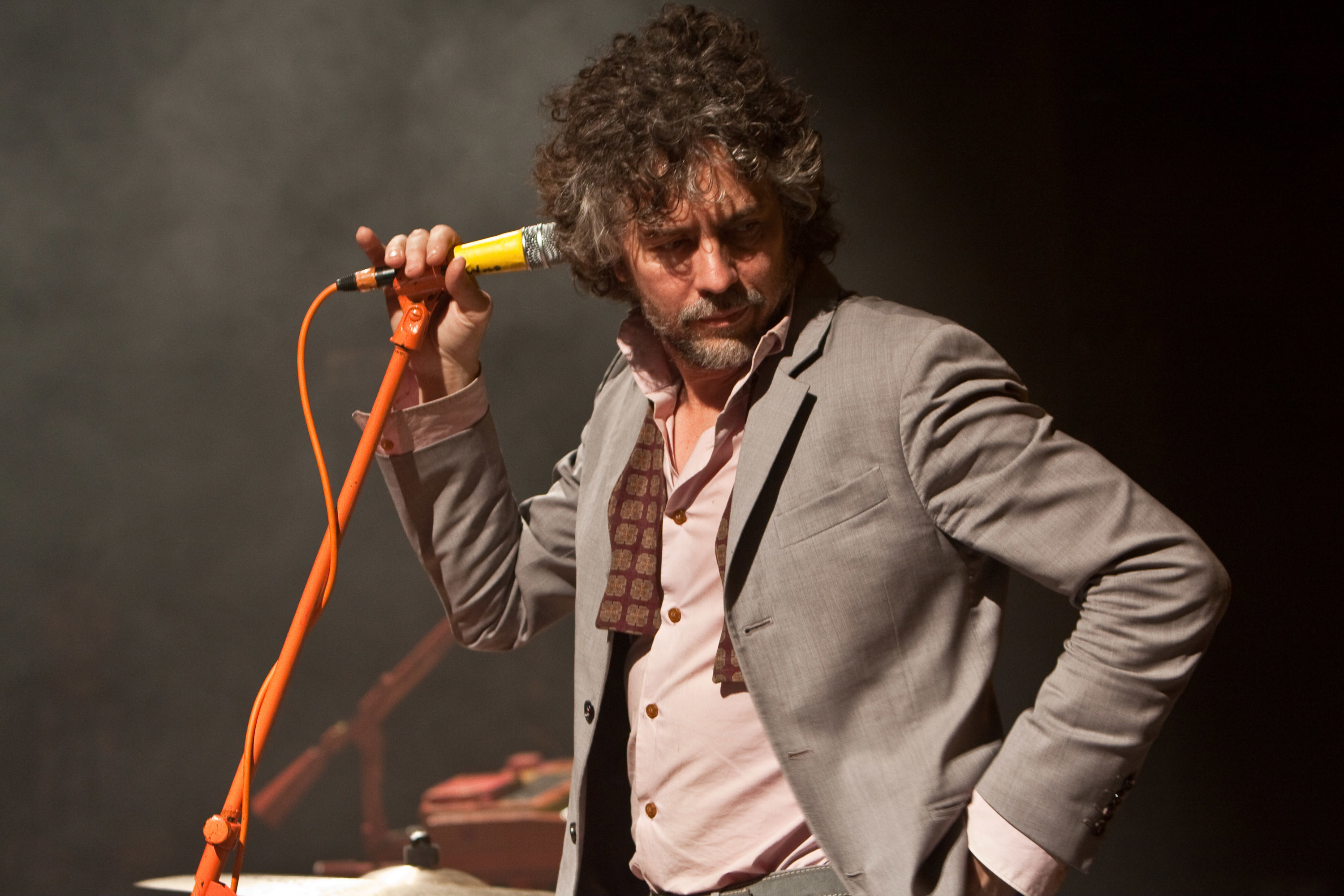 A photo of Wayne Coyne of the Flaming Lips on stage at Myspace Secret Show