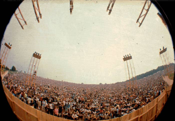 Wide view from the Woodstock stage of all the spectators