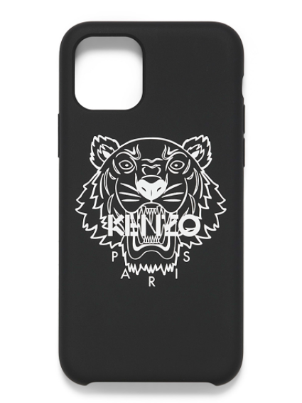 An iphone case printed with a roaring tiger design with the brand name KENZO written on the front