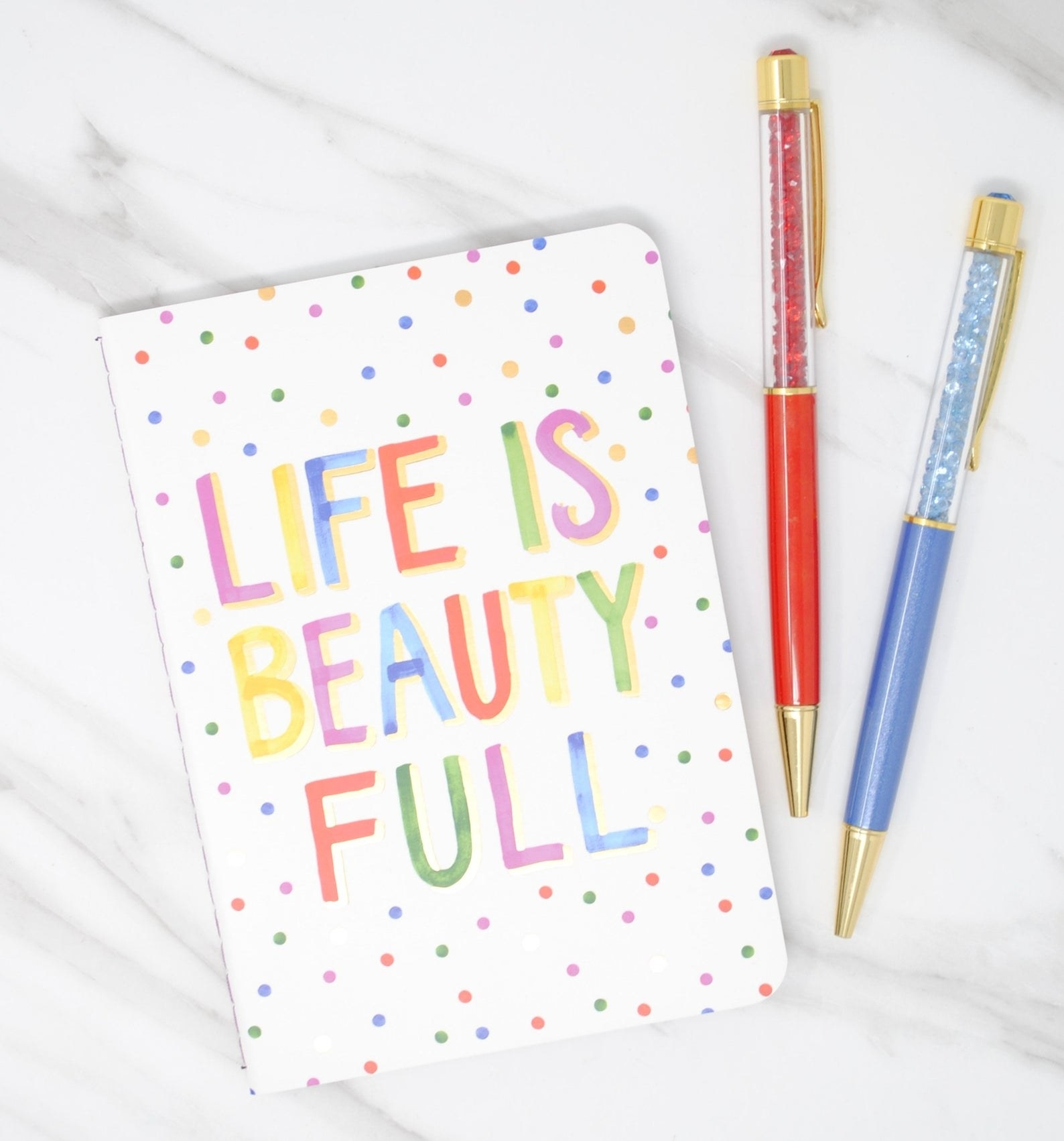 """""""Life is beauty full"""" notebook and pen set"""