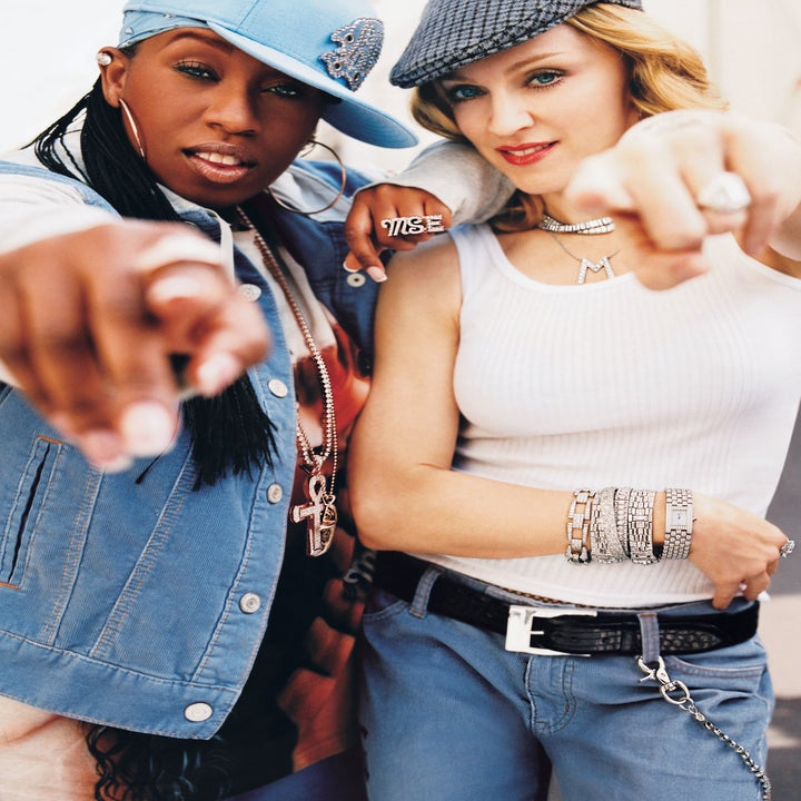 Madonna and Missy Elliott pointing at the camera in a photo from the Gap commercial for the campaign