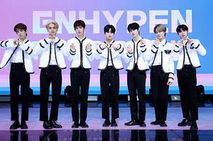 Enhypen poses at their press conference