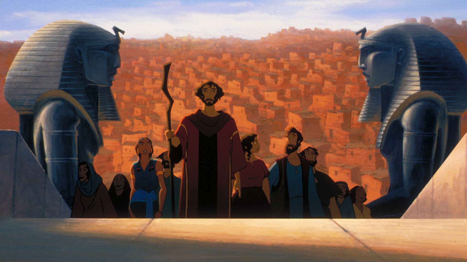 Moses and his followers climbing up the steps towards the Pharaoh's home