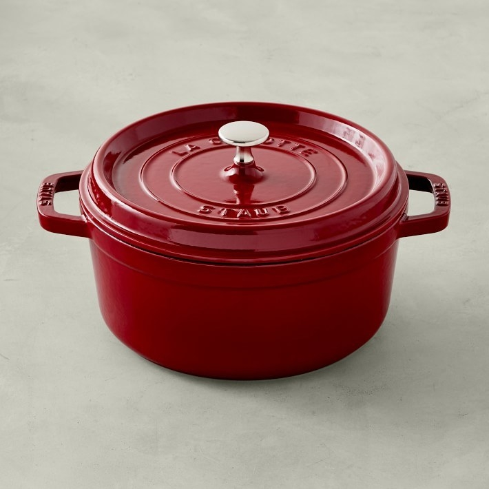 The round dutch oven with lid and handles on either side