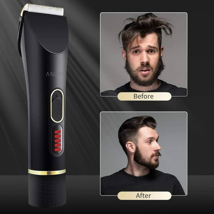A clipper and a before and after shot of a person with long hair and coiffed hair