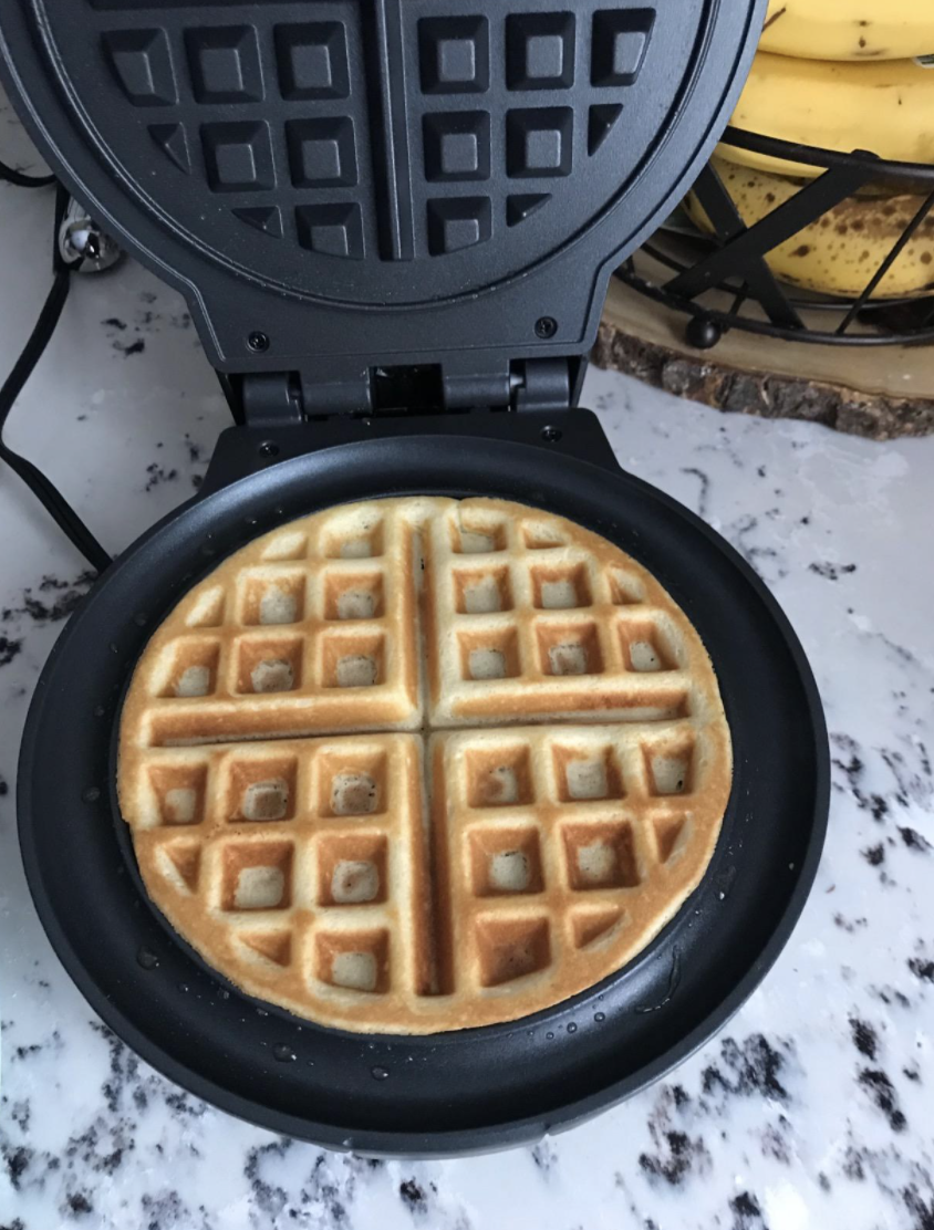 A reviewer's waffle that they made with the machine