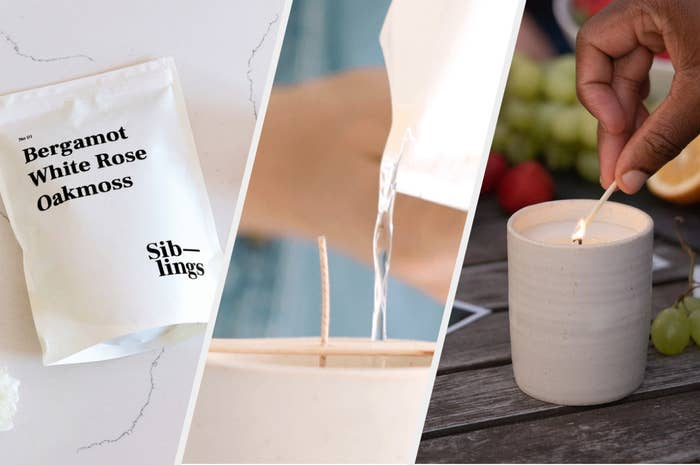 """the left photo is the packet filled with the candle ingredients. The scent is """"Bergamot White Rose Oakmoss."""" The center photo shows a model pouring the candle mix. The last pic is a model's hands lighting their finished candle."""
