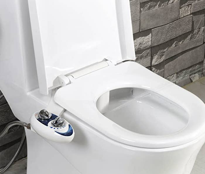 Photo of bidet attachment on toilet