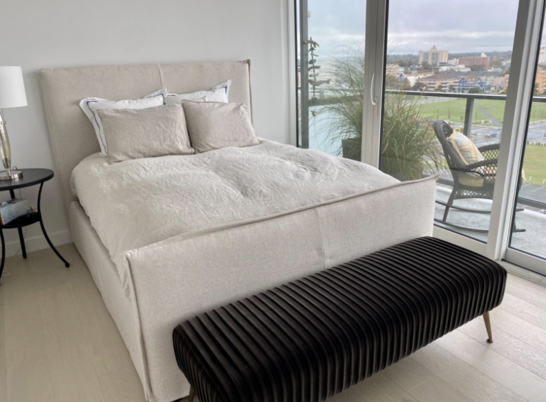 Reviewer photo of beige linen duvet on bed