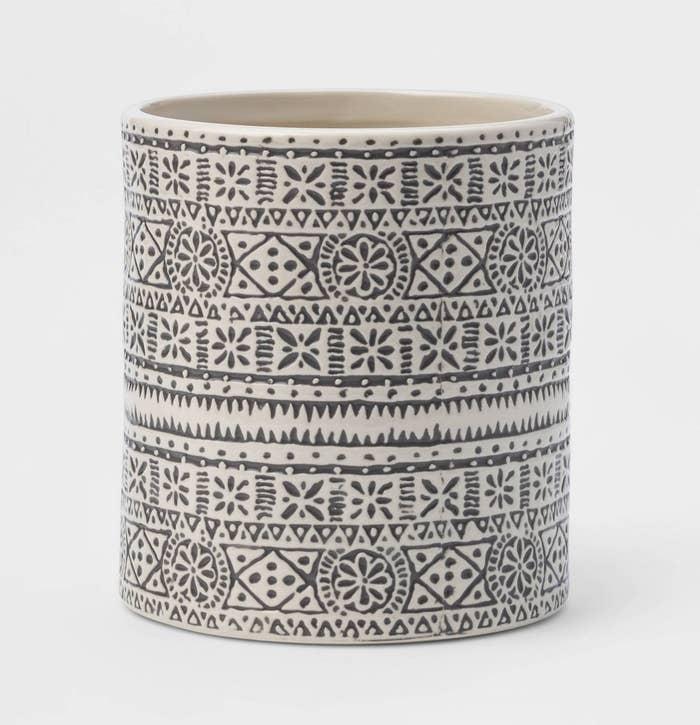 Gray and white patterned utensil holder