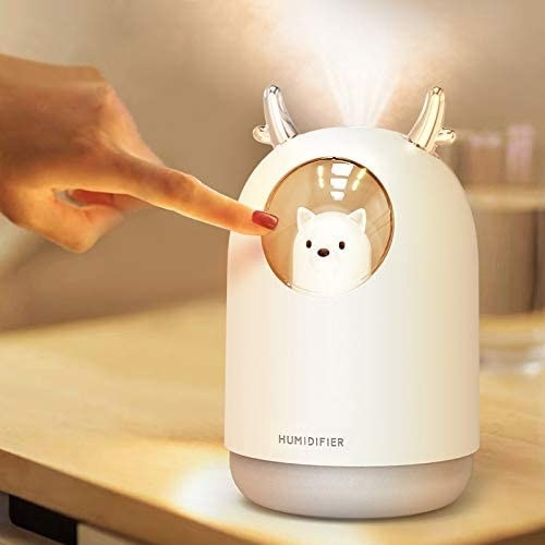 model touching the cool mist humidifier in white with their finger