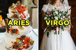 """On the left, a three-tiered wedding cake topped with pinecones and fall flowers labeled """"Aries,"""" and on the right, a bride holding a bouquet labeled """"Virgo"""""""