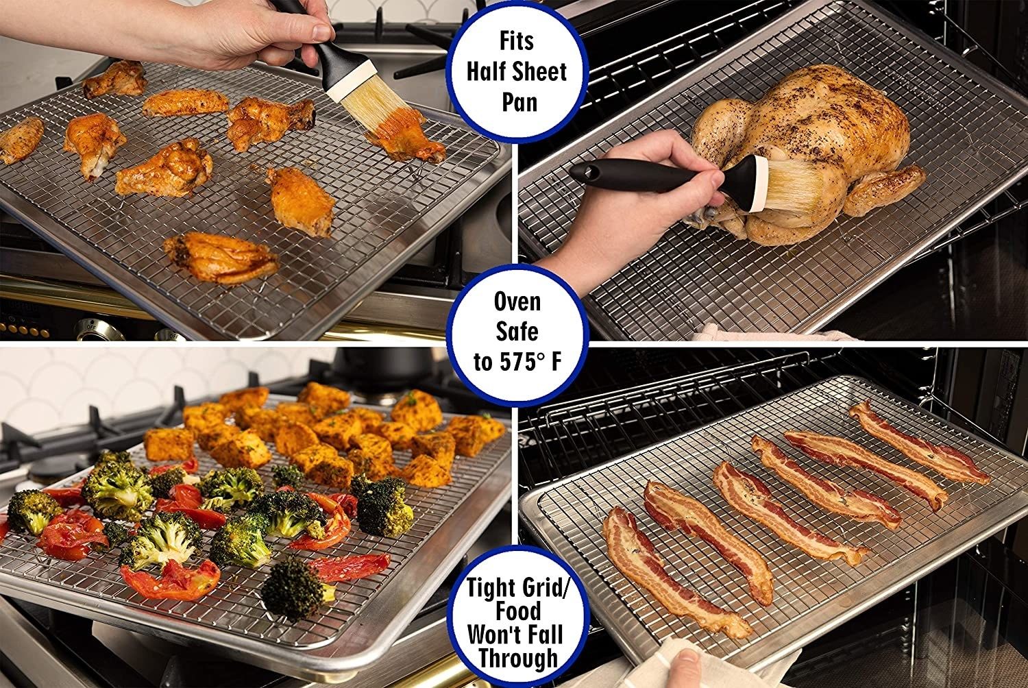 The cooling racks are great for basting chicken, making bacon, and roasting vegetables