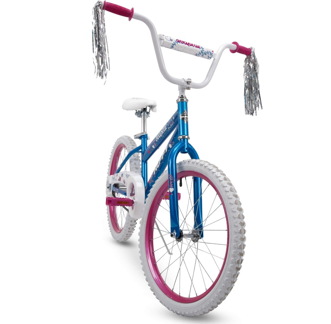 The bike with white handles and a blue frame