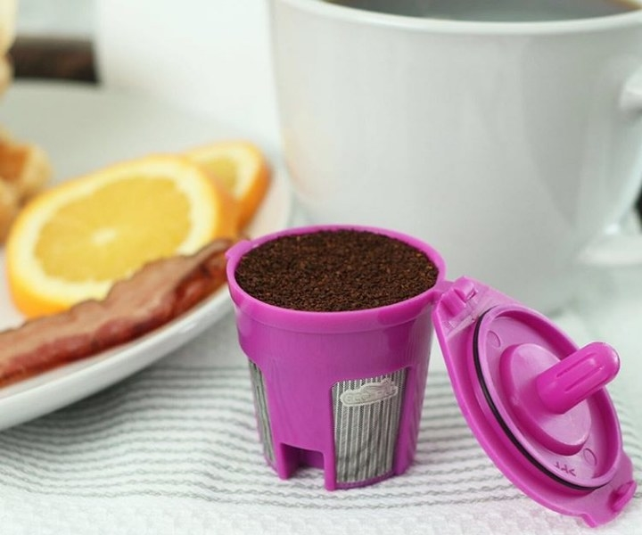 Pink refillable coffee filter