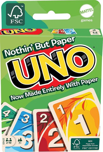 Green packaging of Uno cards