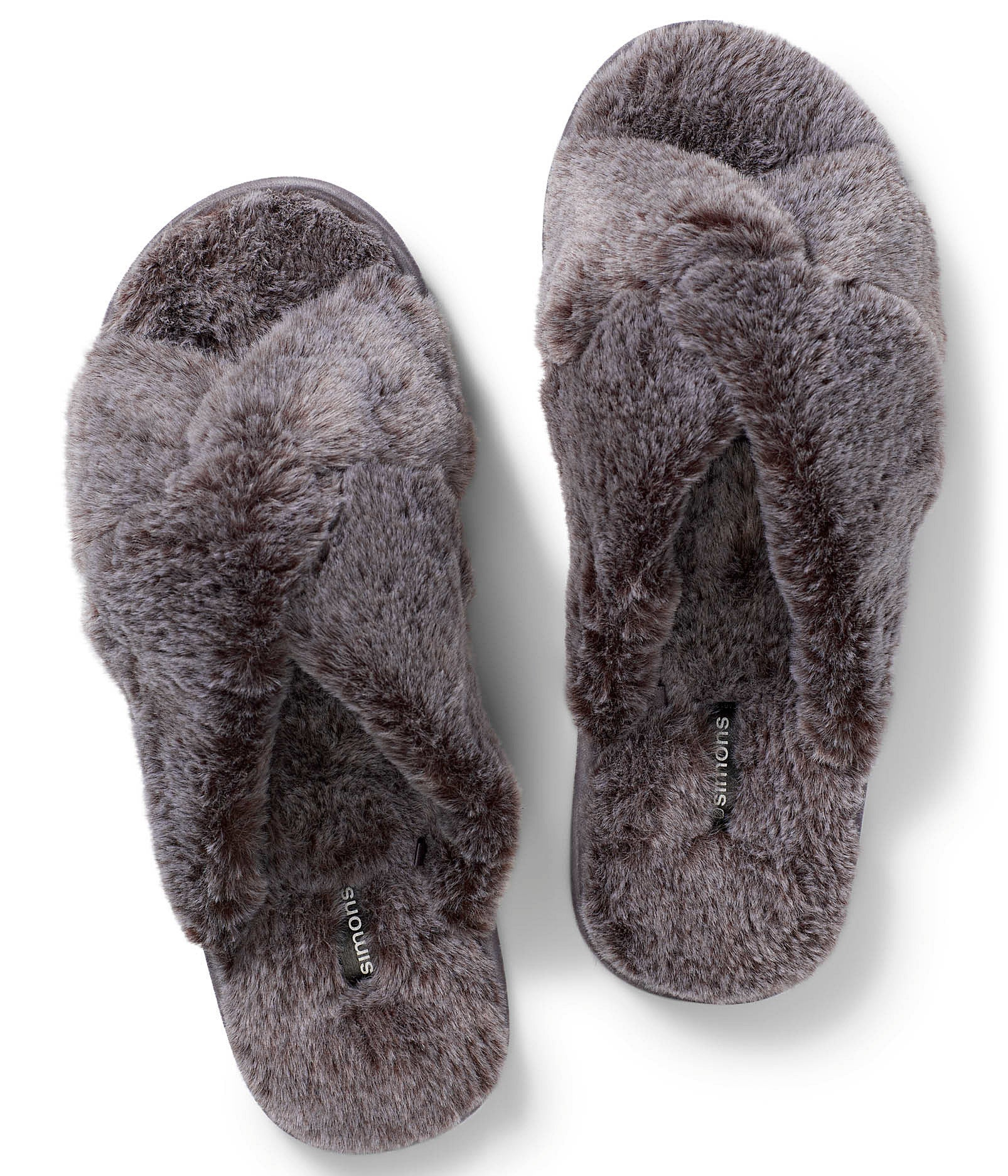 A pair of fluffy faux fur slippers