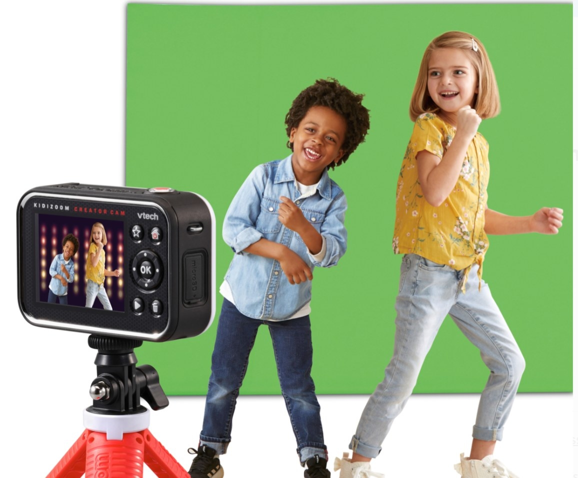The kid's digital video camera in black with a red tripod