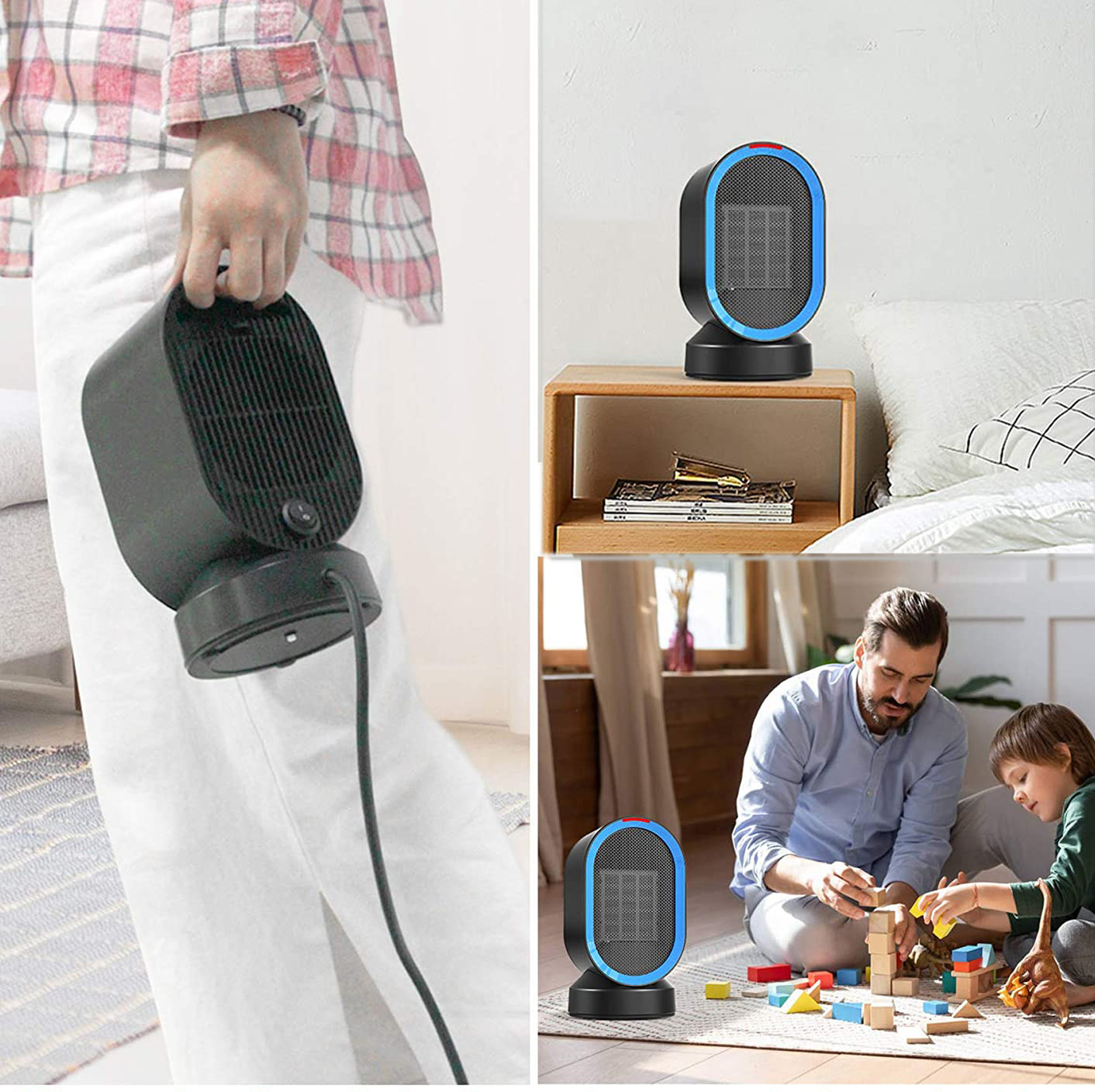 An image of someone carrying a small space heater, an image of the heater on a table, and an image of it on the floor while a parent and child play with blocks