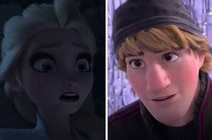 Elsa looks surprised on the left with Kristoff tilting his head on the right