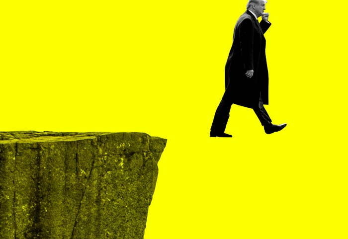 Trump is suspended in mid-air, as though he defies gravity, having walked off a cliff