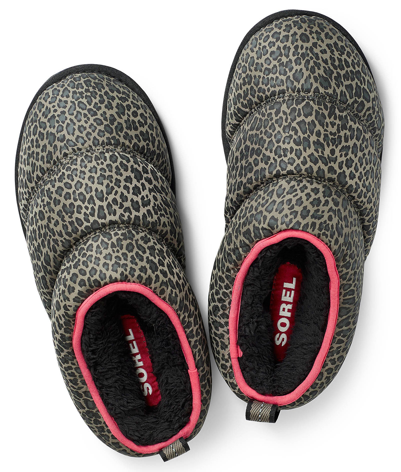 The pair of leopard print Sorel slippers