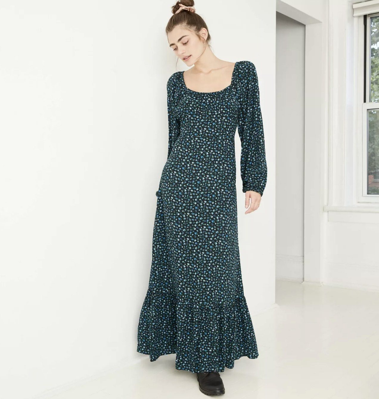 long-sleeve floral midi dress in green with blue and light green pattern